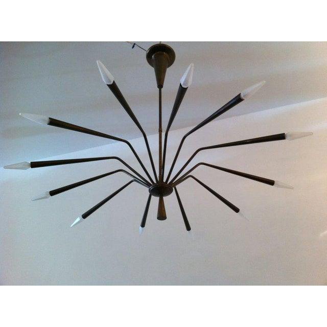 Oscar Torlasco 1960s Oscar Torlasco for Lumi Futurist Brass Sputnik Chandelier For Sale - Image 4 of 10