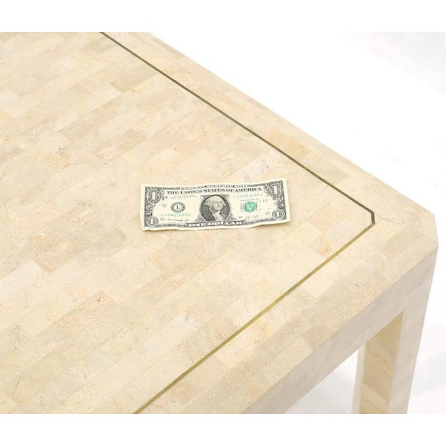 Metal Tesselated Stone Brass Inlay Square Side End Table For Sale - Image 7 of 12