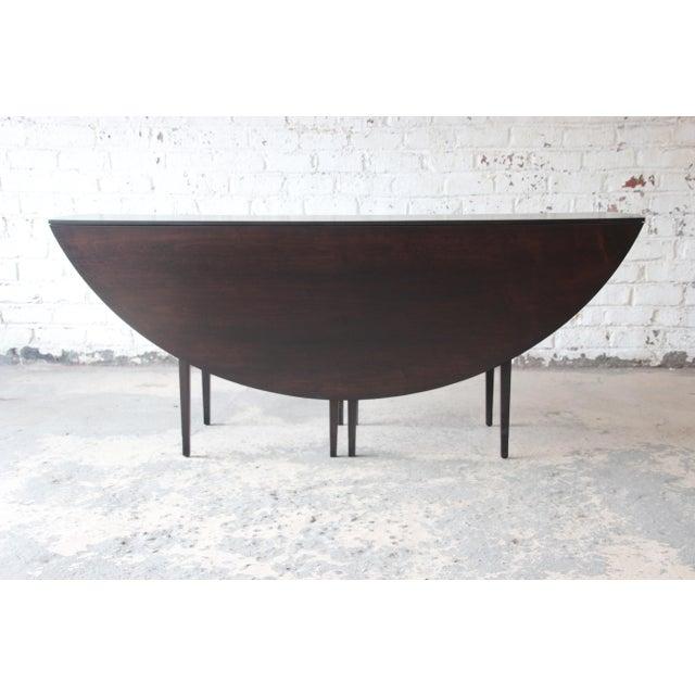 Dunbar Furniture Edward Wormley for Dunbar Mid-Century Modern Walnut Oval Drop-Leaf Dining Table For Sale - Image 4 of 13