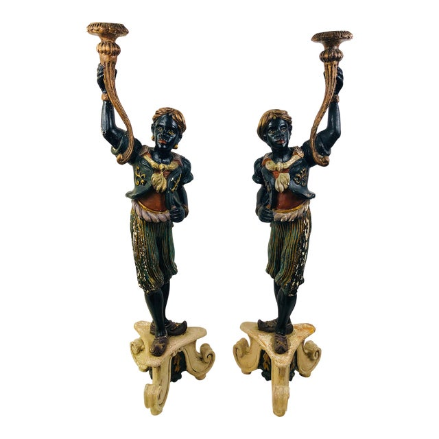 Pair of Old Venetian Blackamoors In Carved Wood, Gesso Overlay, and Polychrome & Gilt Finish For Sale