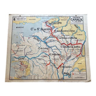 1960s French 'Canaux' Map For Sale