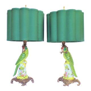 Vintage Ormolu Parrot Porcelain Lamps - a Pair For Sale