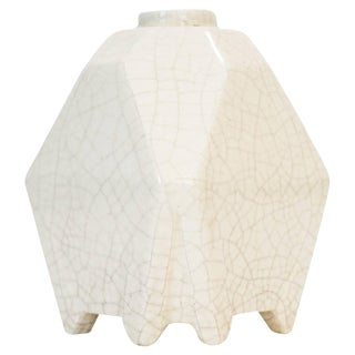 White Octoganal French Vase For Sale