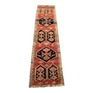 """Vintage Old Persian Kourdish Runner Rug - 3'1""""x13' For Sale"""