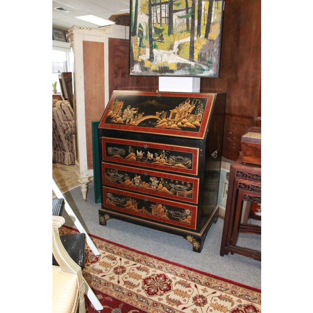 Gold 20th Century Asian Secretary Desk For Sale - Image 7 of 7