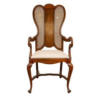 Late 20th Century High End English Revival Queen Anne Cane Back Dining Arm Chair For Sale