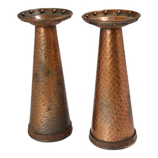 1920s Arts & Crafts Hand-Hammered Copper Candle Holders - a Pair For Sale