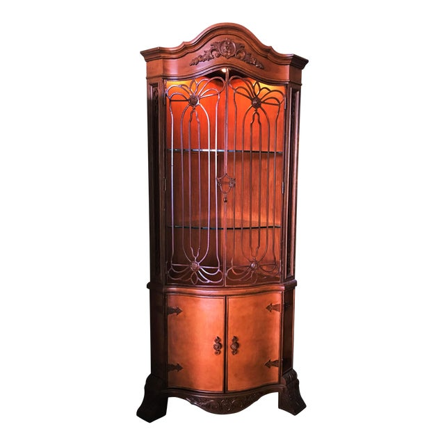 Late 20th Century Corner Cabinet With Iron Doors For Sale