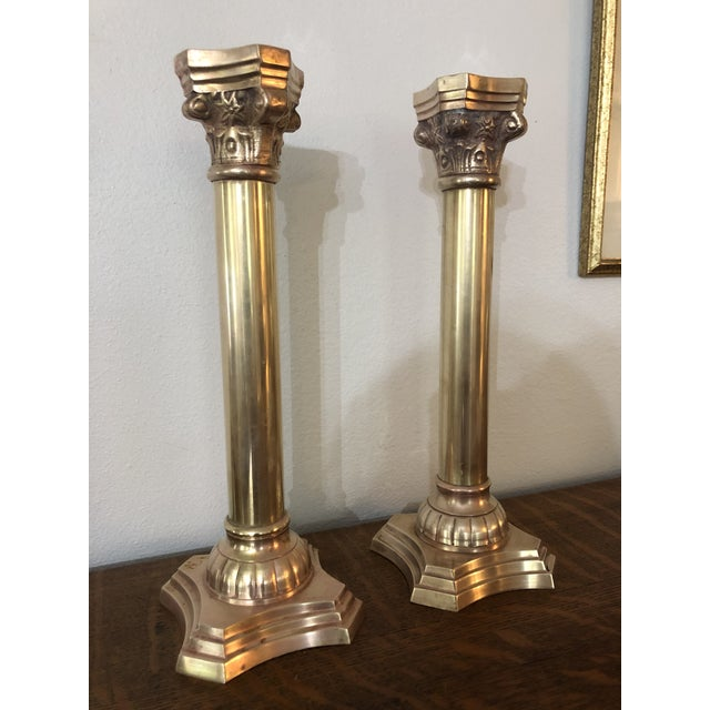 Brass Vintage Brass Corinthian Column Candlesticks - a Pair For Sale - Image 8 of 8