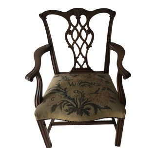 1960s Vintage Chippendale Style Tapestry Chair For Sale