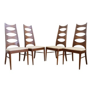 Vintage Mid Century Modern Ladder Back Dining Chairs - Set of 4