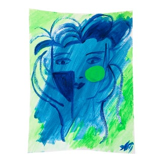Original Cobalt Blue & Green Acrylic Face Painting by Anastasia George