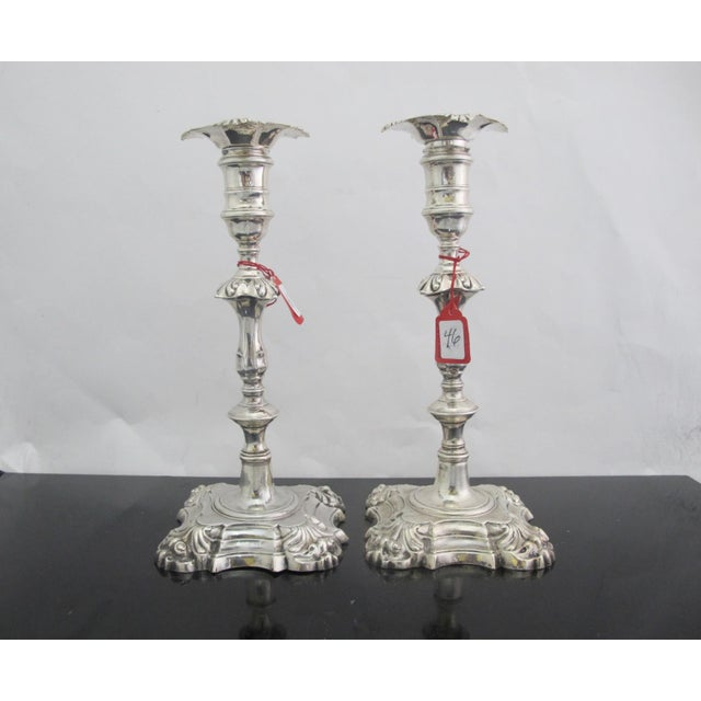 English Antique George II Sterling Silver Candlestick John Cafe London 1752 - a Pair For Sale - Image 3 of 13