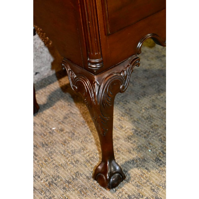 Chippendale Vintage Chippendale Councill Craftsmen Carved Mahogany Lowboy For Sale - Image 3 of 13