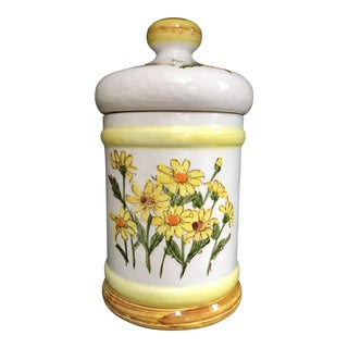 1979 Vintage Yellow Lidded Daisy Jar