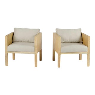 Parchment Covered Cube Form Upholstered Club Chairs - a Pair For Sale