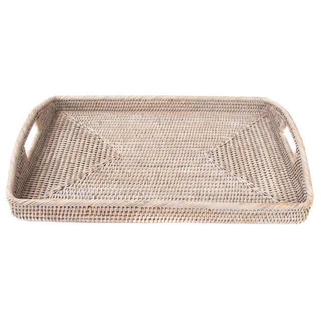 Artifacts Rattan Rectangular Tray With Cutout Handles For Sale In Houston - Image 6 of 6