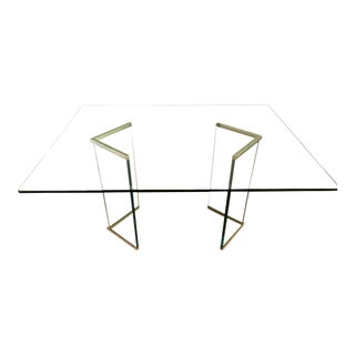 Leon Rosen for Pace Collection Glass & Brass Dining Table For Sale