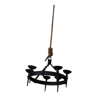 C. 1930s French Gothic Iron Chandelier For Sale