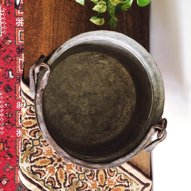 Antique French Copper Pot With Hand-Forged Iron Handle For Sale In Austin - Image 6 of 7