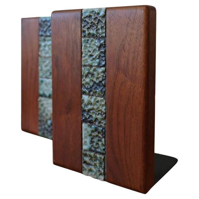 Martz Bookends for Marshall Studios Walnut and Ceramic For Sale