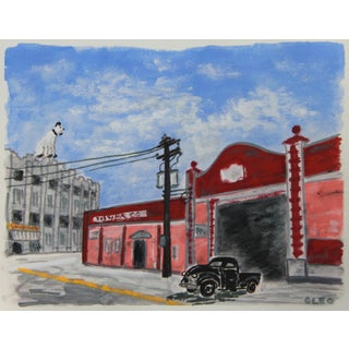 Industrial Warehouse City Cornerwith Dog Painting by Cleo For Sale