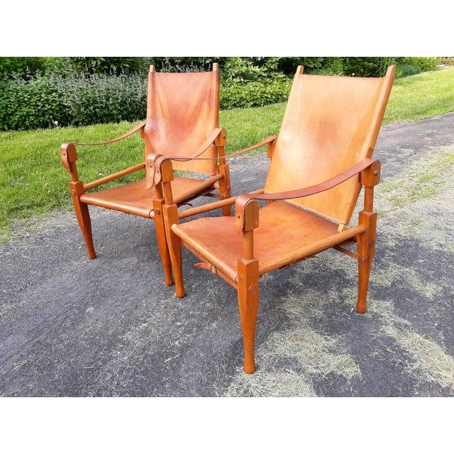 Vintage Mid Century Wilhelm Kienzle for Wohnbedarf Style Safari Chairs- a Pair For Sale - Image 11 of 11