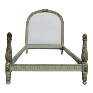 French Painted and Gilt Bed with Upholstered Headboard Twin For Sale