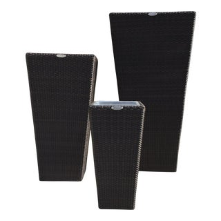 Espresso Finish Rattan Planters - Set of 3