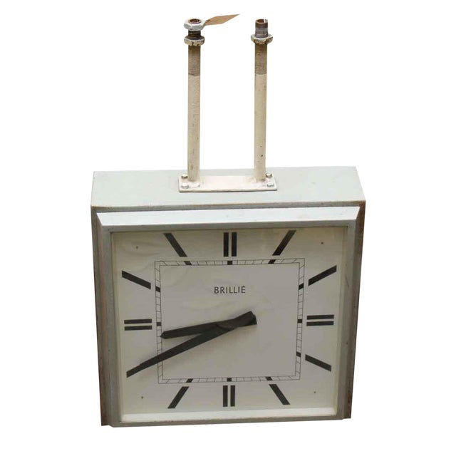 1960s French Hanging Double Sided Sided Clock For Sale