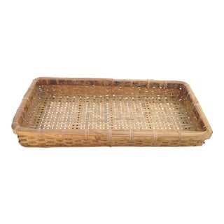 20th Century Country Woven Tray Basket For Sale