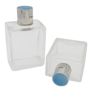 1936 Art Deco Scent Bottle Pair Crystal With Sterling Silver and Blue Guilloche Enamel For Sale