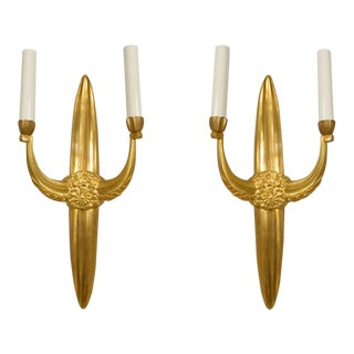 French Art Deco Style Bronze Dore 2 Arm Wall Sconces For Sale