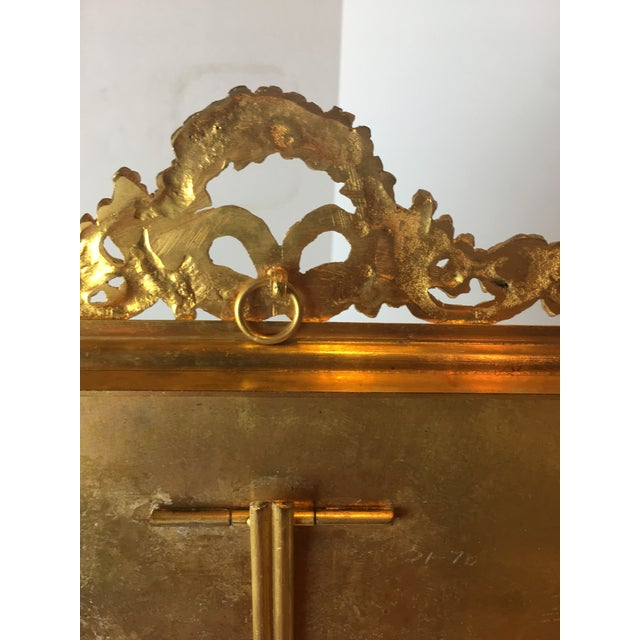 Antique French Gilt Bronze Ormolu & Green Guilloche Enamel Picture Frame For Sale - Image 10 of 11
