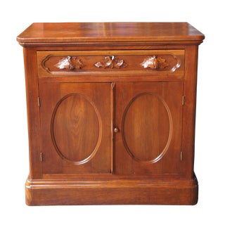 1870s Antique Victorian Walnut Dresser Hand Carved Handles Nightstand Cabinet For Sale