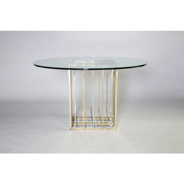 Pierre Cardin Pierre Cardin Mixed Chrome and Brass Grid Table For Sale - Image 4 of 10