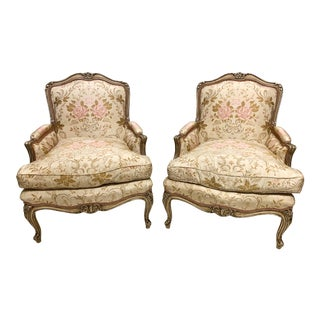 Pair of Silver Giltwood French Style Bergere Chairs For Sale