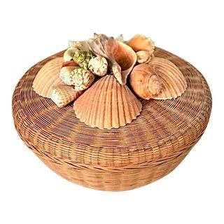 Vintage 1980's Coastal Creations Sea Shell Basket For Sale