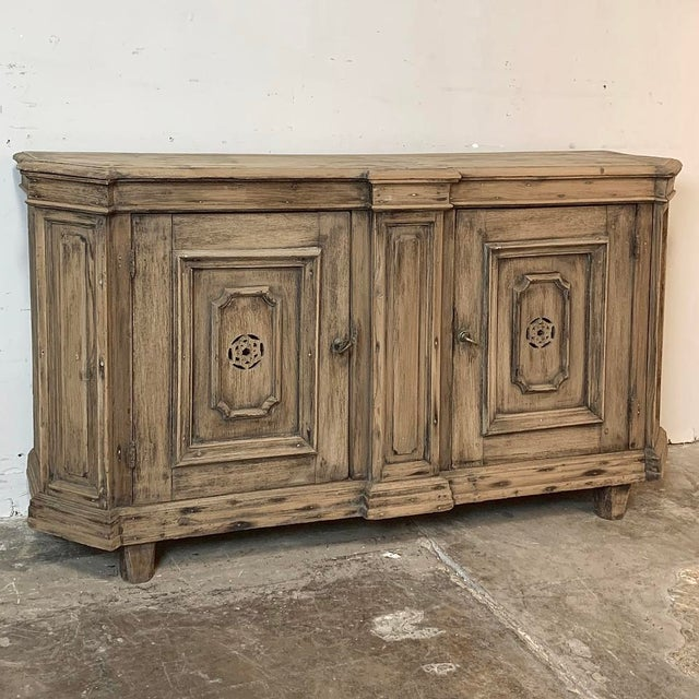 Rustic 18th Century Stripped Pine Dutch Low Buffet For Sale - Image 3 of 12