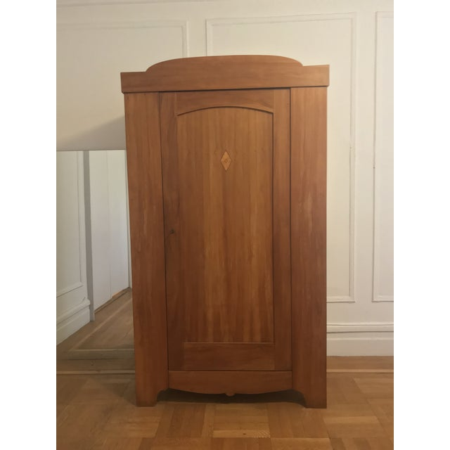 Danish Artisanal Solid Pear Wood Armoire For Sale In New York - Image 6 of 10