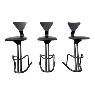 Late 20th Century Black Postmodern Tubular Bar Stools - Set of 3 For Sale