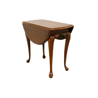 20th Century Traditional Cresent Furniture Solid Cherry Drop Leaf End/Accent Table For Sale