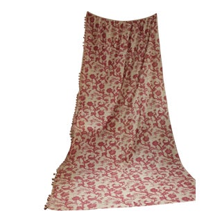 Antique French 19th Century W/ 18th Century Design Toile Red Indienne Curtain For Sale