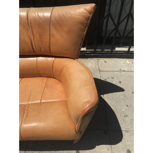 1970s Pacific Green Leather Moorea Sofa For Sale - Image 5 of 11