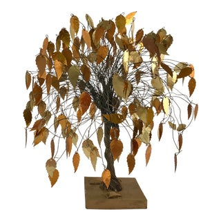 Mid Century Modern Gold Leaf Brass and Wire Tree Sculpture For Sale