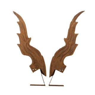 Mid 19th Century Large Thai Wooden Wing Fragments - a Pair