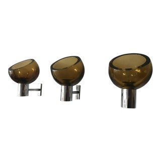 1960s Mid-Century Modern Seguso Glass and Chrome Sconces - Set of 3 For Sale