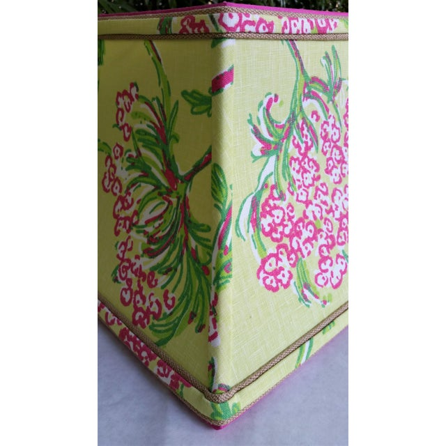 """Fabric and Trim Hot pink, bright chartreuse green and white Lilly Pulitzer """"Racy Lacey"""" cotton linen upholstery fabric. An..."""