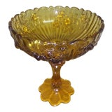 Image of 1930s Vintage Fenton Cabbage Rose Compote For Sale