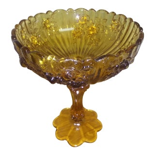 1930s Vintage Fenton Cabbage Rose Compote For Sale